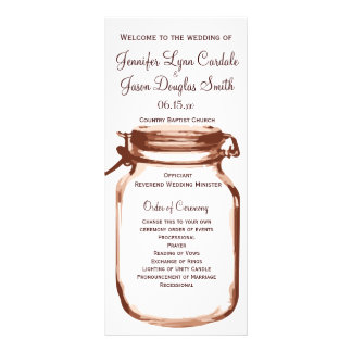 Rustic Country Mason Jar Wedding Programs Rack Card Template