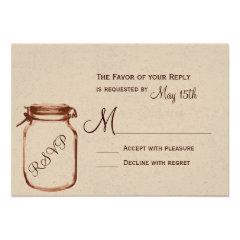 Rustic Country Mason Jar Wedding RSVP Cards