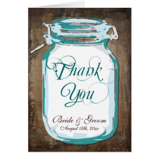 Rustic Country Mason Jar Wedding Thank You Cards