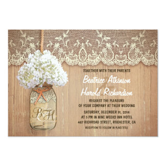 "rustic country mason jar white hydrangea wedding 5"" x 7"" invitation card"