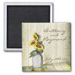 RUSTIC COUNTRY MASON JAR WITH SUNFLOWERS 2 INCH SQUARE MAGNET