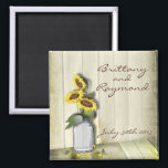 """RUSTIC COUNTRY MASON JAR WITH SUNFLOWERS MAGNET<br><div class=""""desc"""">Wedding Invitations © 2015 Original watercolor painting by WhimsicalArtwork™ Perfect for that country wedding or vintage party.</div>"""