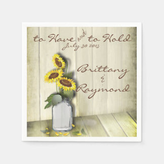 RUSTIC COUNTRY MASON JAR WITH SUNFLOWERS PAPER NAPKIN