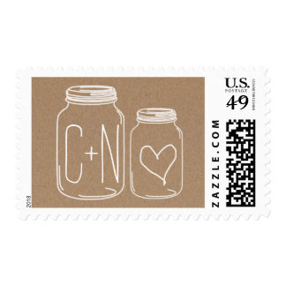 Rustic Country Mason Jars Heart Wedding 2 Stamp