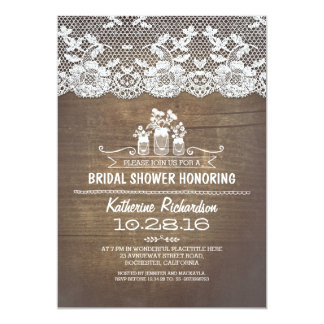 Rustic country mason jars lace bridal shower card