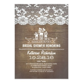 Rustic country mason jars lace bridal shower 5x7 paper invitation card