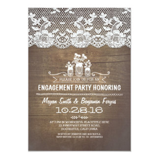 Rustic country mason jars lace engagement party card