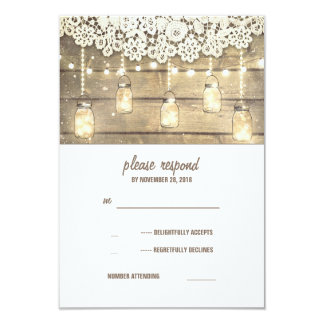 Rustic Country Mason Jars Lights Lace Wood RSVP Card