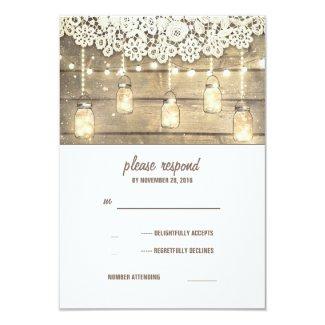 "Rustic Country Mason Jars Lights Lace Wood RSVP 3.5"" X 5"" Invitation Card"
