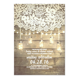Rustic Country Mason Jars Lights Lace Wood Wedding 5x7 Paper Invitation Card