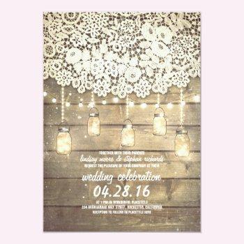 Rustic Country Mason Jars Lights Lace Wood Wedding 5x7 Paper Invitation Card