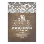 "Rustic country mason jars wood lace wedding invite 5"" x 7"" invitation card"