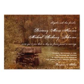 Rustic Country Meadow Wagon Wedding Invitations 4.5