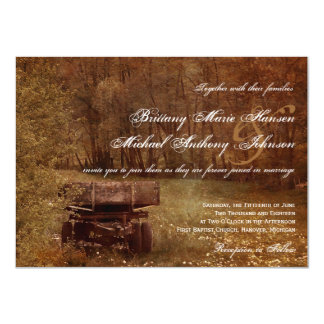 Rustic Country Meadow Wagon Wedding Invitations