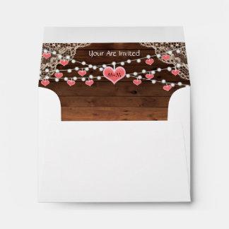 Rustic Country Monogram Heart Envelope