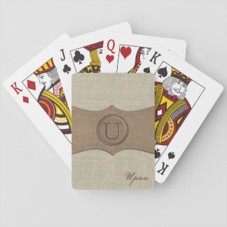Rustic Country Monogram Letter U Playing Cards