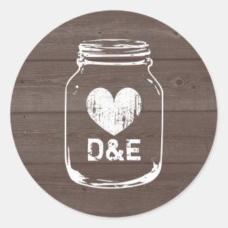 Rustic country monogram mason jar wedding stickers