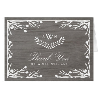 Rustic Country Monogram Thank You Card