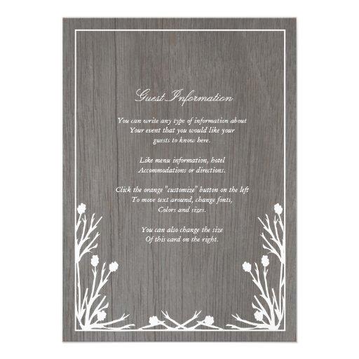 Rustic Country Monogram Wedding Insert Card