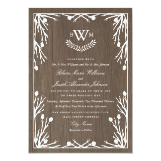 "Rustic Country Monogram Wedding Invitation 5"" X 7"" Invitation Card"