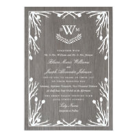 Rustic Country Monogram Wedding Invitation