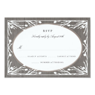 Rustic Country Monogram Wedding RSVP 3.5x5 Paper Invitation Card