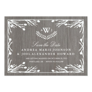 Rustic Country Monogram Wedding Save the Date Card