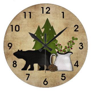 Rustic Country Mountain Bear Wall Clock