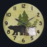 "Rustic Country Mountain Bear Wall Clock<br><div class=""desc"">Rustic Country Mountain Bear Wall Clock with Green Background.</div>"