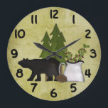 """Rustic Country Mountain Bear Wall Clock<br><div class=""""desc"""">Rustic Country Mountain Bear Wall Clock with Green Background.</div>"""