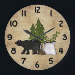 "Rustic Country Mountain Bear Wall Clock<br><div class=""desc"">Rustic Country Mountain Bear Wall Clock</div>"