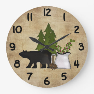 Rustic Country Mountain Bear Wall Clock