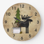 Rustic Country Mountain Moose Wall Clock