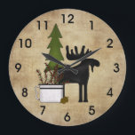 """Rustic Country Mountain Silhouette Moose Large Clock<br><div class=""""desc"""">~Rustic Country Mountain Silhouette Moose Wall Clock</div>"""