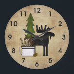 "Rustic Country Mountain Silhouette Moose Large Clock<br><div class=""desc"">~Rustic Country Mountain Silhouette Moose Wall Clock</div>"