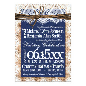 Rustic Country Navy Blue Burlap Wedding Invitation