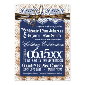 Rustic Country Navy Blue Burlap Wedding Invitation 4.5