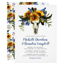 Rustic Country Navy Blue Sunflower Boho Wedding
