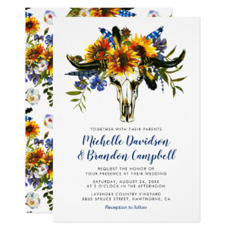 Rustic Country Navy Blue Sunflower Boho Wedding Invitation