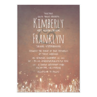 Rustic Country | Night Lights Field Garden Wedding Card
