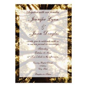 Rustic Country Oak Tree Wedding Invitations