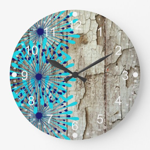 rustic country barn wood teal blue flowers wall clock zazzle