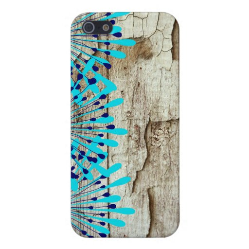 Rustic Country Old Barn Wood Teal Blue Flowers iPhone 5/5S Case