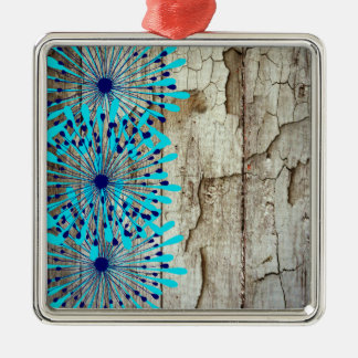 Rustic Country Old Barn Wood Teal Blue Flowers Metal Ornament