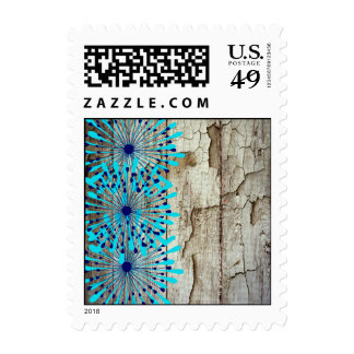 Rustic Country Old Barn Wood Teal Blue Flowers Postage Stamps
