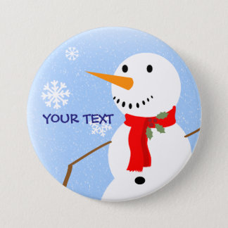 Rustic Country Old Fashioned Snowman Button