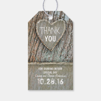 Rustic country old tree heart Thank You tags
