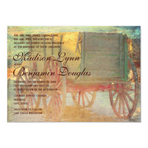 Rustic Country Old Wagon Wedding Invitations Invite