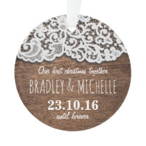 Rustic Country Our First Christmas Together Ornament