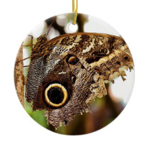 Rustic Country Owl Butterly on Tree Ceramic Ornament